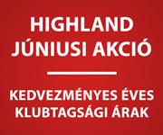 Highland júniusi akció – kedvezményes éves klubtagsági árak